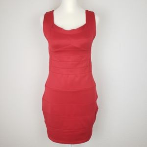 Sexy red backless paneled bodycon dress NWT